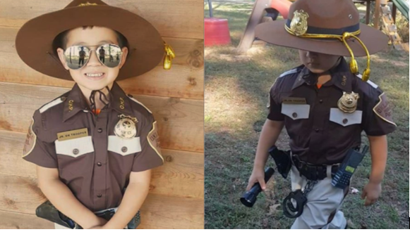 4 year old dresses as Oklahoma HP trooper for Halloween