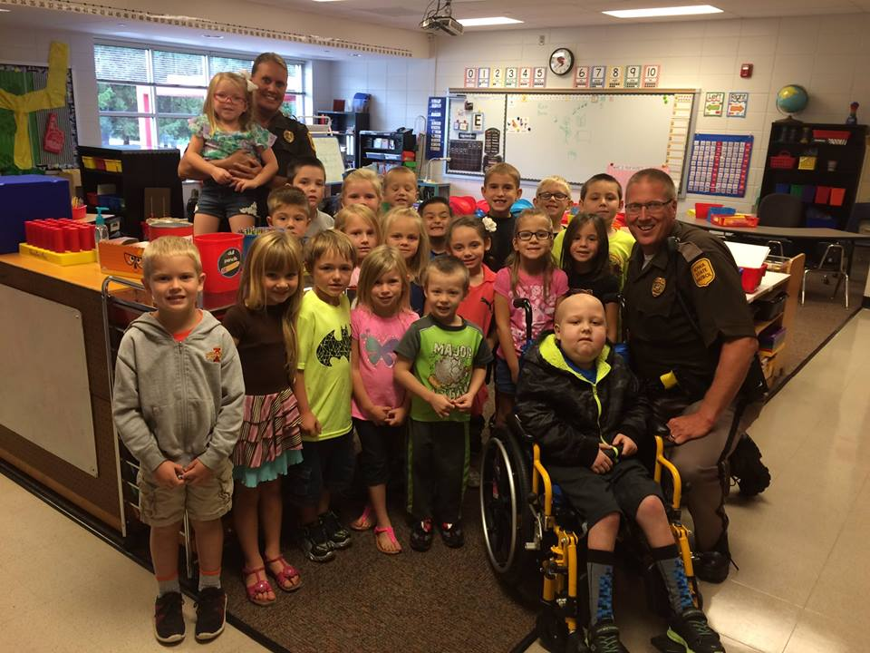Iowa State Troopers at elementary school
