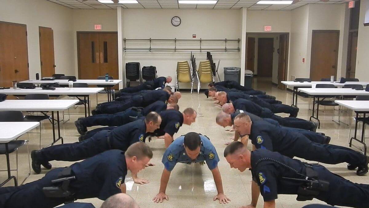 Missouri troopers doing push ups